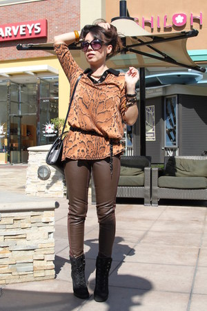 bronze cardigan - black Aldo boots - dark brown leather pants H&amp;M pants