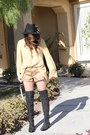 Black-tory-burch-boots-black-h-m-hat-gold-shorts-mustard-blouse