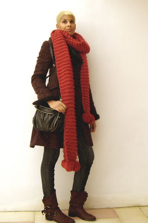 red scarf - brown shoes - black accessories - purple coat
