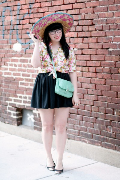 found hat - gifted bag - American Apparel skirt - Target flats