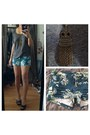 Blue-floral-shorts-shorts-owl-necklace-heather-gray-t-shirt-black-sandals