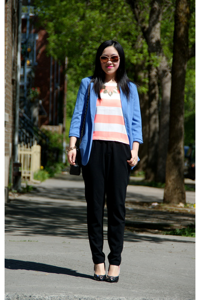 blue Forever 21 blazer - carrot orange Topshop top