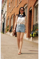 sky blue Urban Outfitters shorts - ivory Forever 21 top - ivory Aldo sandals