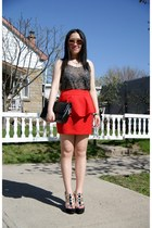 black Chanel bag - pink Aldo sunglasses - red Urban Outfitters skirt
