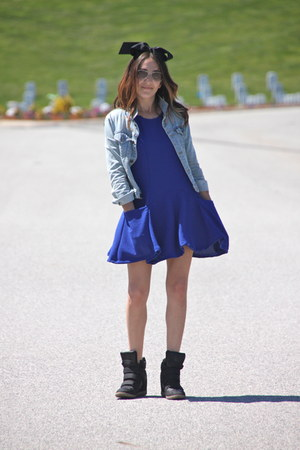 blue nastygalcom dress - light blue BDG jacket - black Target sneakers