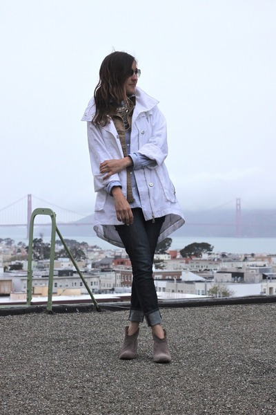 navy J Brand jeans - light brown Steve Madden boots - white walmartcom jacket
