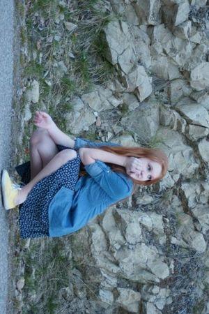 yellow off the wall shoes - blue winners shirt - blue Miss Shop dress