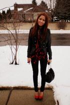 black skinny Seven For All Mankind jeans - black jou jou jacket - red flowy rach