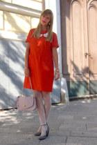 pearl collar DIY accessories - Primark bag - orange H&M skirt