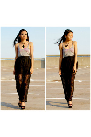 black maxi skirt Forever21 skirt - gray tank top H&M top