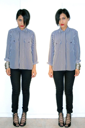 red smashbox accessories - white notions blouse - black H&M jeans - black f21 sh