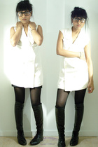 black misha tights - black boots vintage shoes - beige dress