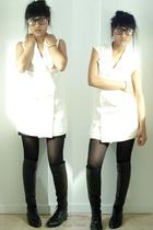 black misha tights - black boots vintage shoes - beige dress