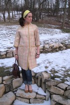 beige MIskabelle coat - yellow MIskabelle scarf - blue jeans - beige shoes - bro