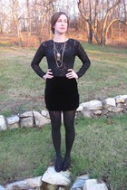 black top - black intimate - skirt - black tights - purple shoes - necklace