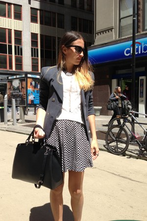 gray Theyskens Theory blazer - black Louis Vuitton bag - white minnoji skirt