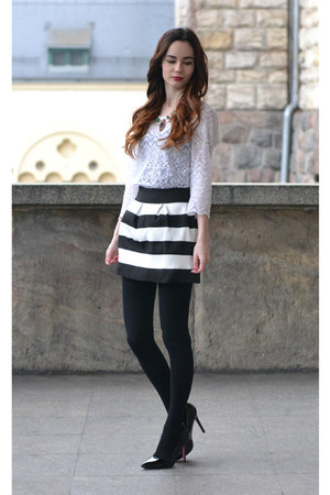 black BangGood skirt - white H&M top