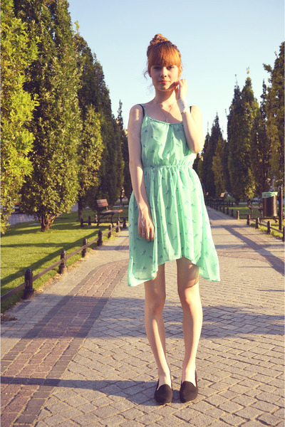 light blue Bershka dress - black Fleq loafers