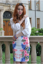 bubble gum myred skirt - white Front Row Shop sweater