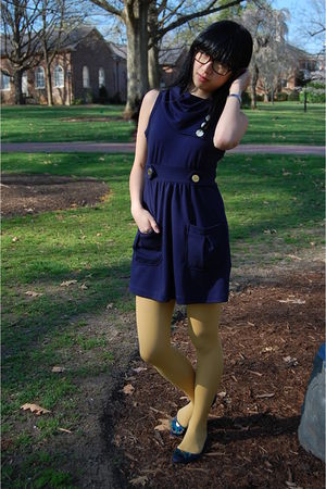 blue Forever 21 dress - yellow American Apparel tights - blue Fairy Tales are Tr