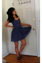 black KG shoes - blue H&M dress - black Urban Outfitters glasses