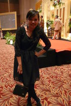 black Diana Rikasari for Bloop Endorse dress - black Topshop tights - black Zara