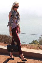 J Crew scarf - Chanel bag - BCBG top - coach heels - J Crew pants