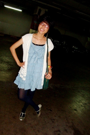 knitted top vest - denim frilled dress - Navy stockings - gold t-bar shoes - gra