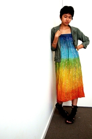 h&m thrifted jacket - randombrand rainbow dress - shoes