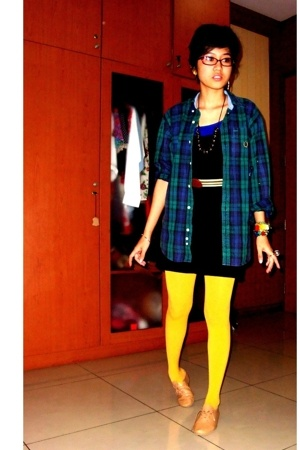 vintage flannel shirt - supre dress - vintage belt - mustard stockings - Ebay sh