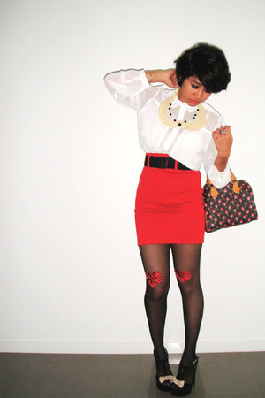 black heart DIY stockings - brick red LV bag - red high-waisted f21 skirt