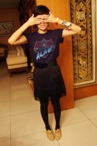 DAFTPUNK shirt - moms belt - sunnygirl fringe skirt - Ebay shoes - shiny bracele