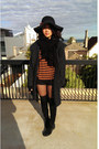 Black-knee-high-suede-boots-gray-tweed-coat-coat-outlet-hat