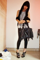black vest - black top - black accessories