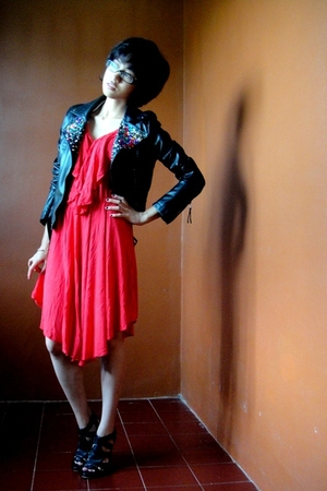 black jacket - red dress - black shoes