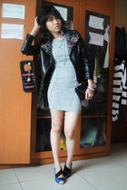 AOD dress - vintage Grandmas bag - wedges vnc - leather jacket DIY studded