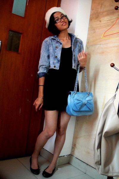 beige Myers - purple iconia dress - - black shoes - blue vintage jacket