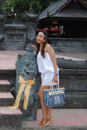white dress - blue Louis Vuitton bag - brown wedges - white Forever 21 earrings