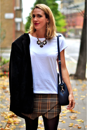 checkered Zara skirt - navy Zara bag