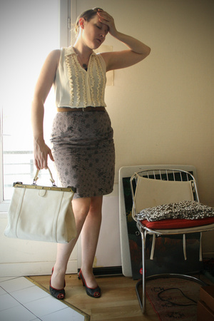 blouse - skirt - shoes - purse