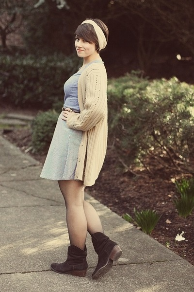 DSW boots - thrifted sweater - Old Navy shirt - American Apparel skirt