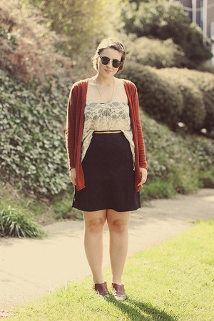 thrifted shoes - thrifted skirt - thrifted cardigan