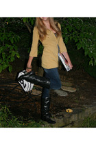 BCBG sweater - American Eagle t-shirt - boots - Betsey Johnson purse