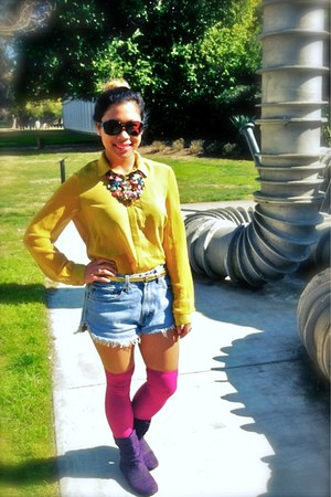 yellow Lush blouse - Levi Strauss & Co shorts - pink Nordstrom socks