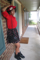 Nilani blouse - B Makowski purse - Buffalo Exchange skirt - forever 21 boots - h