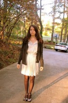dark green BDG sweater - white reformed dress - black JCrew stockings - black DI