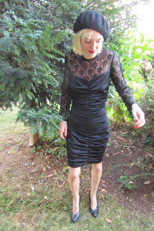 black vintage dress - black handmade hat - black vintage shoes