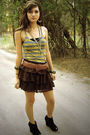 Brown-tj-maxx-skirt-gold-nordstrom-rack-shirt-gray-forever-21-necklace-bla