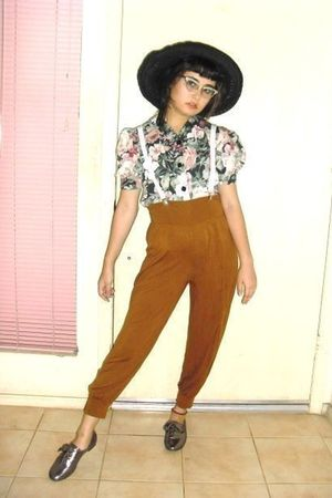 brown Target pants - black hat - silver shoes - white Hot Topic - pink thrifted