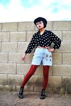 black Forever 21 hat - blue Forenza shorts - brown belt - black boots - red Nine